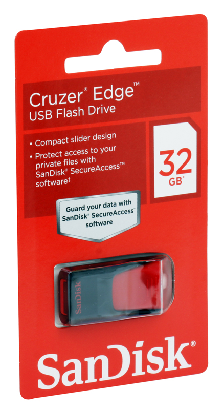 USB флешка SanDisk Cruzer Edge 32GB Black (SDCZ51-032G-B35) USB 2.0 / 15 МБ/cек / 10 МБ/cек флешка usb 16gb sandisk cruzer edge sdcz51 016g b35 черный