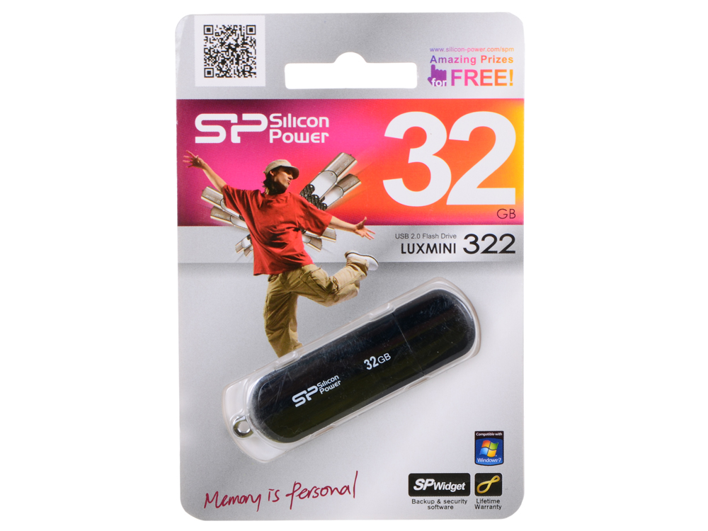 USB флешка Silicon Power LuxMini 322 Black 32GB (SP032GBUF2322V1K)