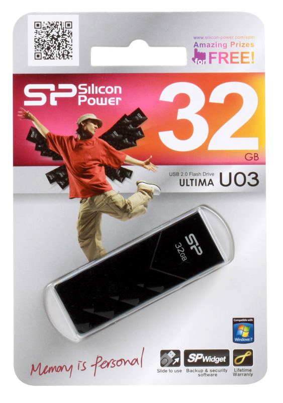 USB флешка Silicon Power Ultima U03 Black 32GB (SP032GBUF2U03V1K) флешка usb 32gb silicon power ultima u05 sp032gbuf2u05v1d синий