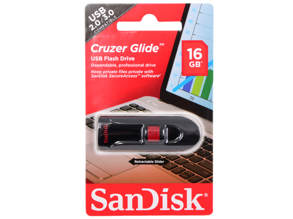 USB флешка SanDisk Cruzer Glide 16GB (SDCZ60-016G-B35) флешка usb 16gb sandisk cruzer edge sdcz51 016g b35 черный