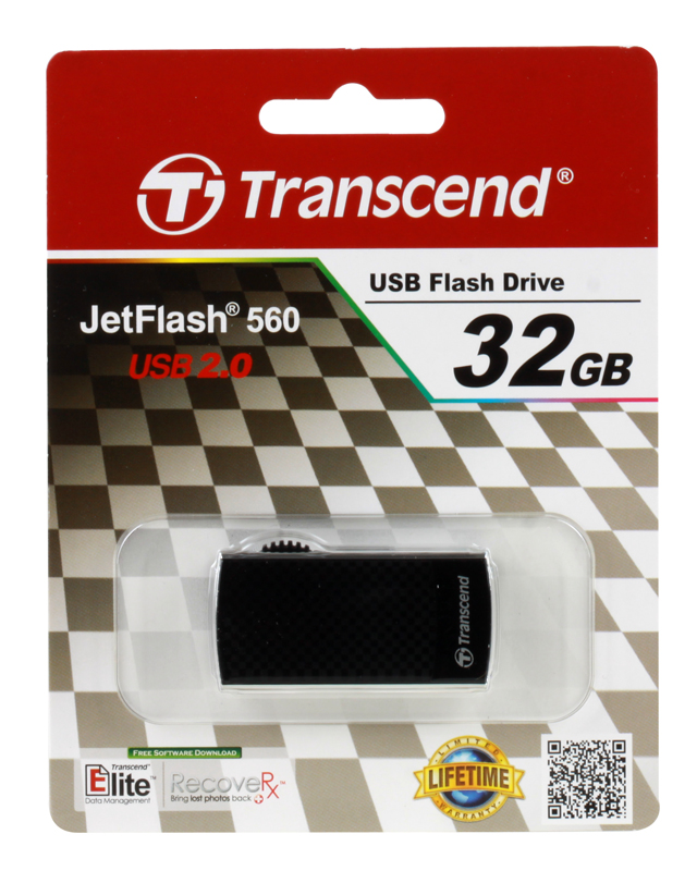 USB флешка Transcend JetFlash 560 32GB Black (TS32GJF560) USB 2.0 / 18 МБ/cек / 6 МБ/cек цена и фото