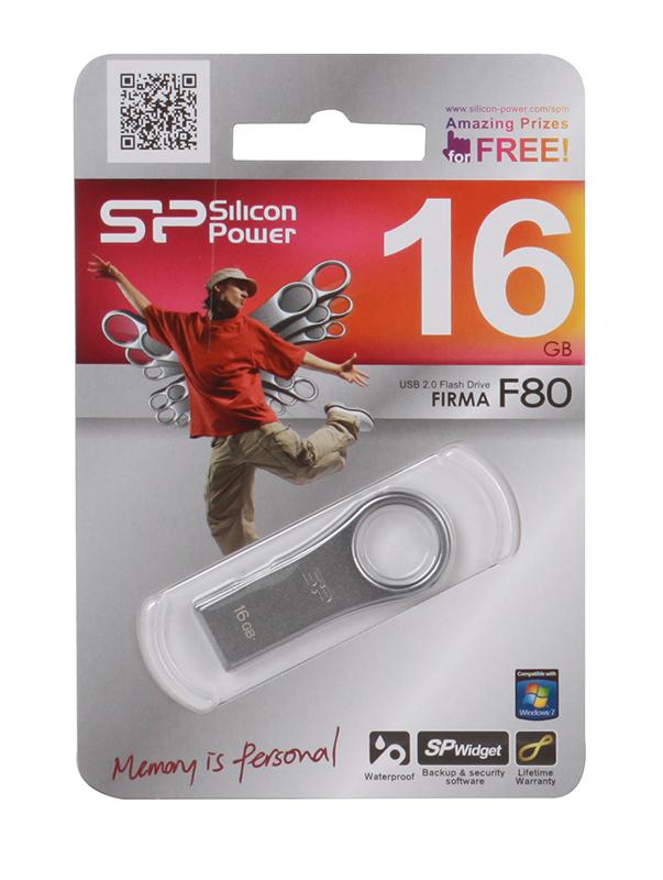 USB флешка Silicon Power Firma F80 16Gb Silver (SP016GBUF2F80V1S) USB 2.0 цена и фото