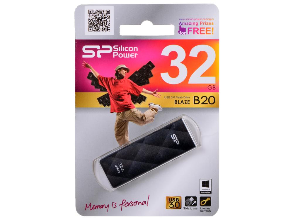 Внешний накопитель 32GB USB Drive (USB 3.0) Silicon Power Blaze B20 Black (SP032GBUF3B20V1K) внешний накопитель 4gb usb drive
