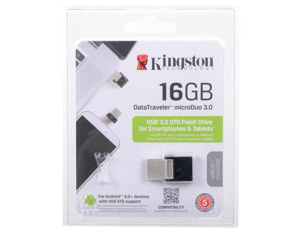 USB флешка Kingston DTDUO3 16Gb Black (DTDUO3/16GB) USB 3.0, microUSB / 70 МБ/cек / 10 МБ/cек все цены