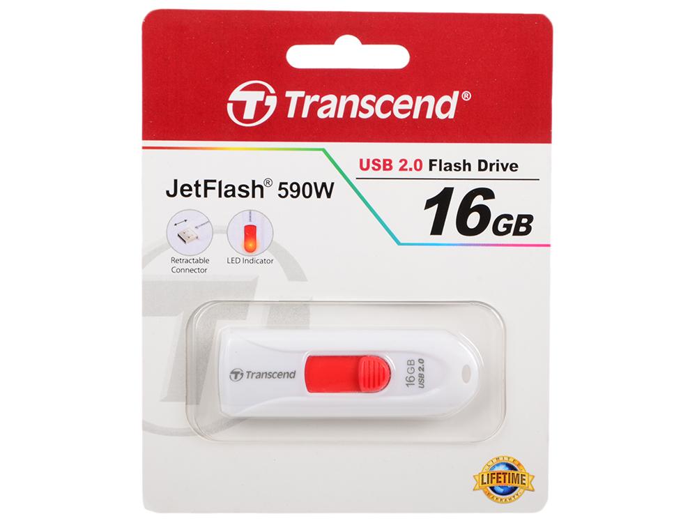 Флешка USB 16Gb Transcend JetFlash 590 TS16GJF590W белый флешка transcend jetflash 350 4gb