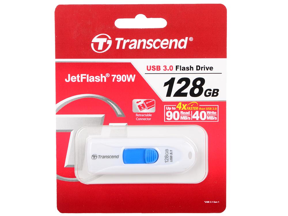 USB флешка Transcend JetFlash 790 128Gb White (TS128GJF790W) 3.0 / 90 Мб/с 40