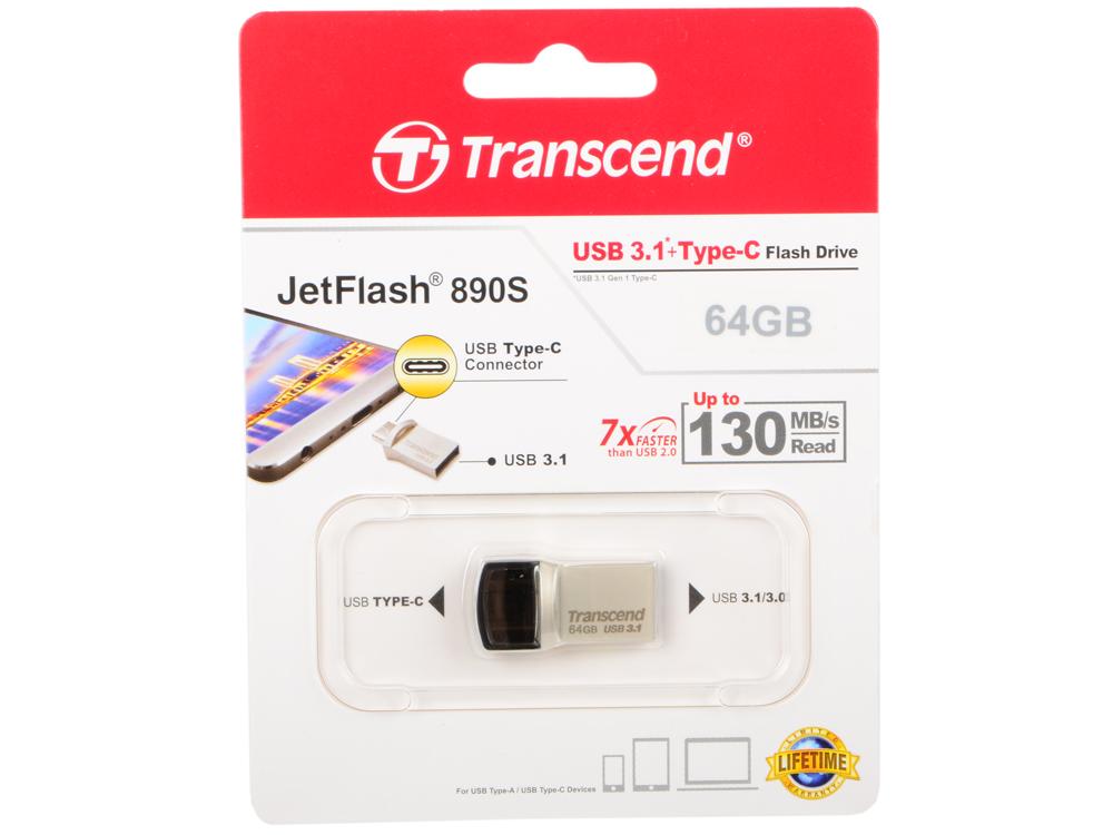 USB флешка Transcend Jetflash 890 Black/silver (TS64GJF890S) USB 3.1/USB Type-C usb флешка transcend 780 8gb ts8gjf780