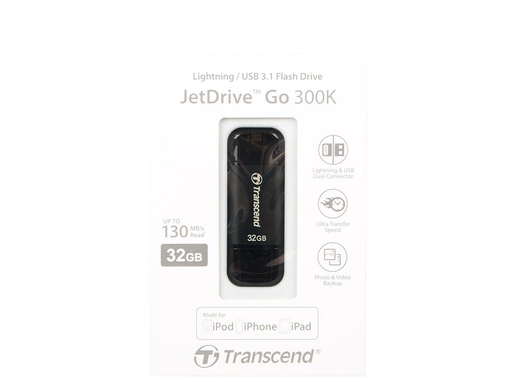 Фото - USB флешка Transcend JetDrive Go 300 32Gb (TS32GJDG300K) USB 3.1/Lightning / 130 Мб/с / 20 Мб/с usb флешка toshiba owari u401 32gb thn u401s0320e4 usb 2 0 20 мб с 11 мб с