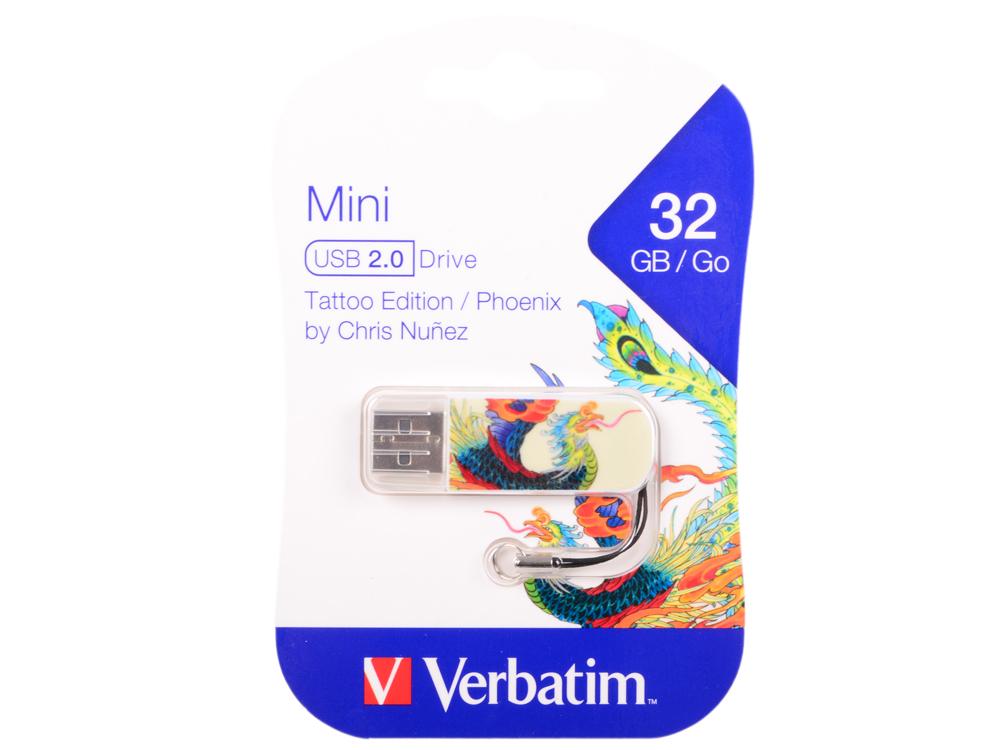 Фото - USB флешка Verbatim Mini Tattoo Phoenix 32Gb White (49898) USB 2.0 / 8 Мб/с / 2,5 Мб/с сувениры народности вай dragon and phoenix hp0010