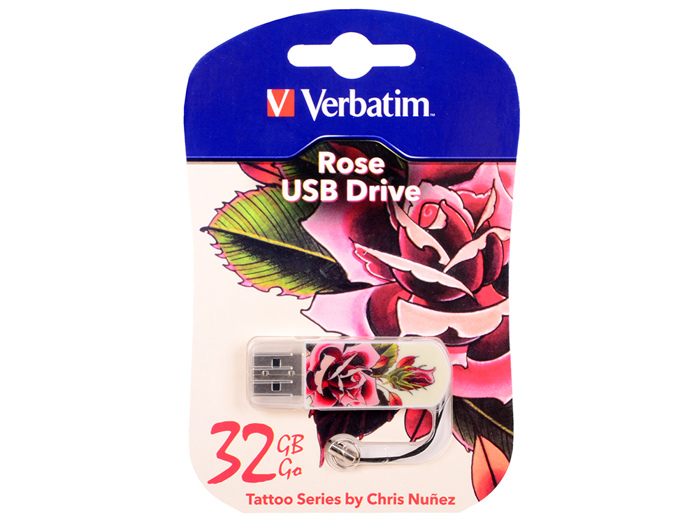 USB флешка Verbatim Mini Tattoo Rose 32Gb (49896) USB 2.0 / 8 Мб/с / 2,5 Мб/с цена и фото