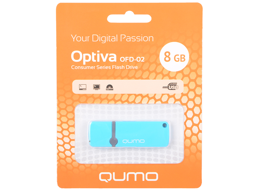 USB флешка QUMO Optiva 02 8GB Blue (QM8GUD-OP2-blue) USB 2.0 цена
