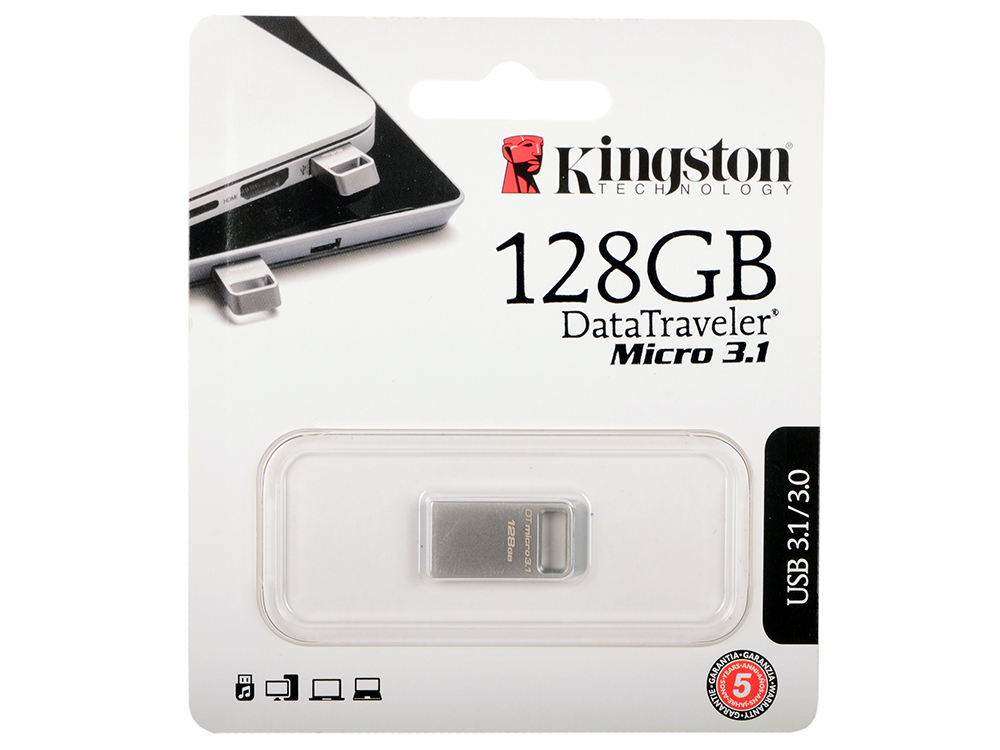USB флешка Kingston DataTraveler Micro 3.1 128Gb Black (DTMC3/128GB) USB 3.1 / 100 МБ/cек / 15 МБ/cек