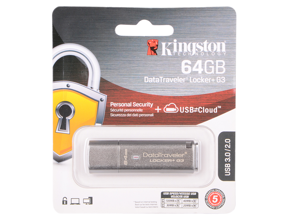 USB флешка Kingston DataTraveler G3 64Gb Silver (DTLPG3/64GB) USB 3.0 / 135 МБ/cек / 40 МБ/cек цена