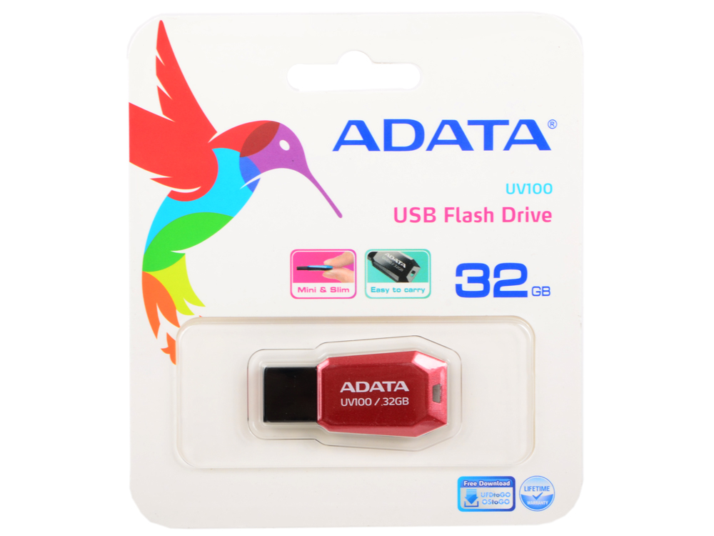USB флешка ADATA UV100 32Gb (AUV100-32G-RRD) USB 2.0 / 15 Мб/с / 5 Мб/с usb накопитель 32gb adata s107 синий as107 32g rbl