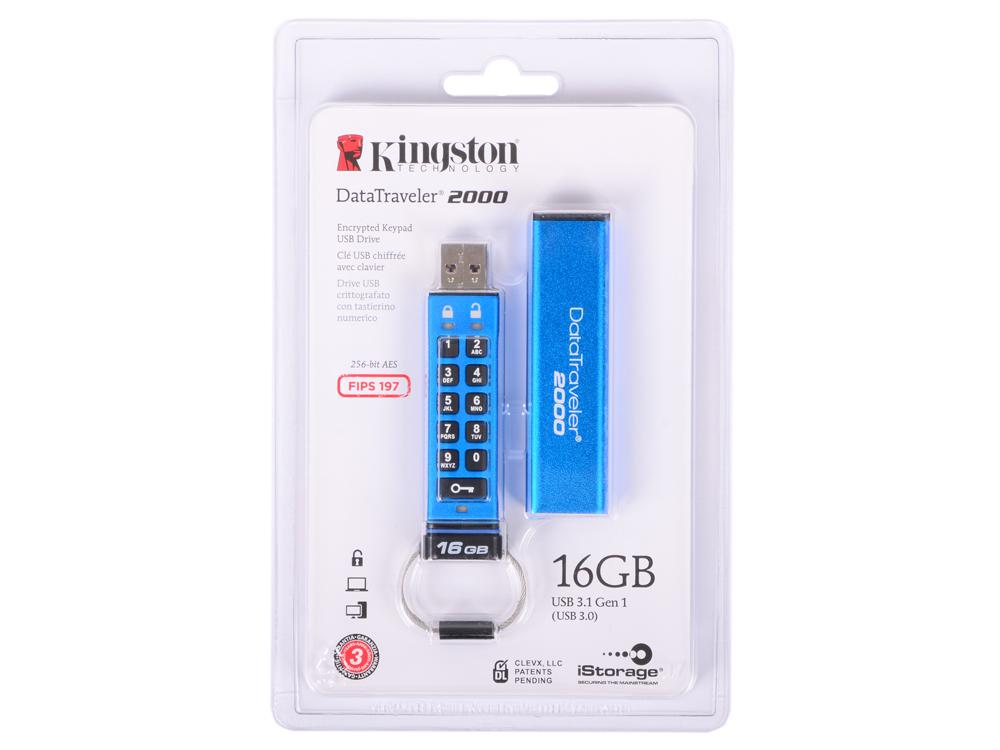 Флешка USB 16Gb Kingston Keypad DT2000/16GB синий kingston sda10 16gb