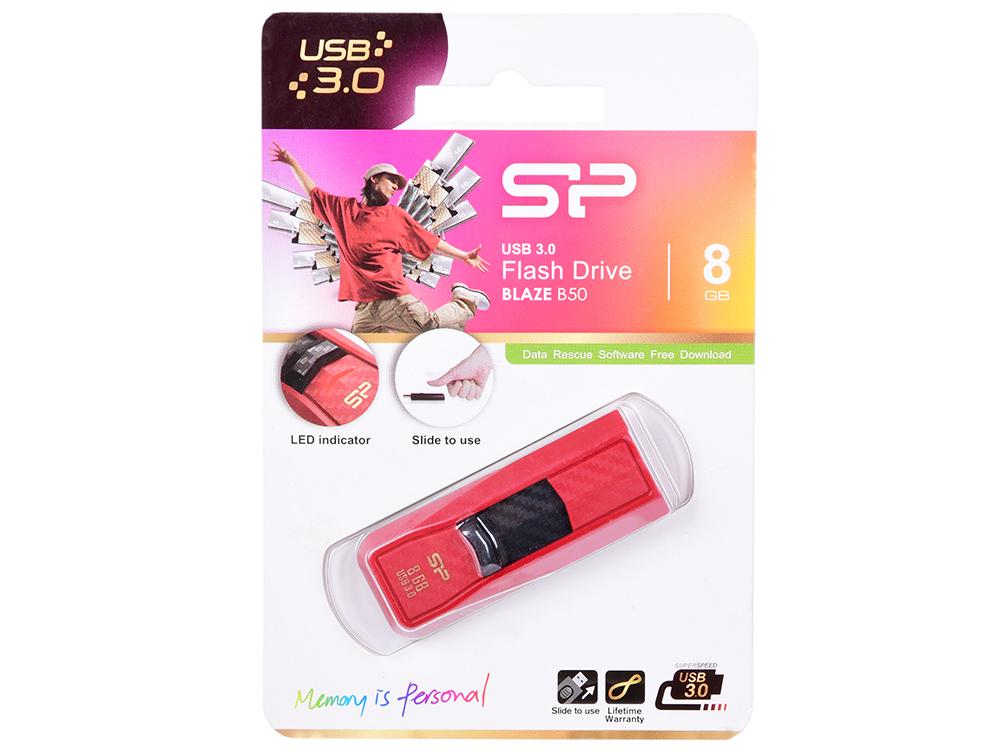 USB флешка Silicon Power Blaze B50 8Gb Red (SP008GBUF3B50V1R) USB 3.0 / 40 Мб/с / 10 Мб/с usb флешка mirex knight 8gb white 13600 fmukwh08 usb 2 0 18 мб с 8 мб с