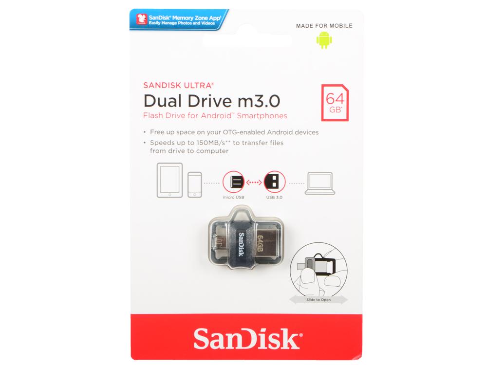 Внешний накопитель USB 64Gb SanDisk Ultra Dual SDDD3-064G-G46 черный sandisk ultra type c 16gb black silver usb накопитель