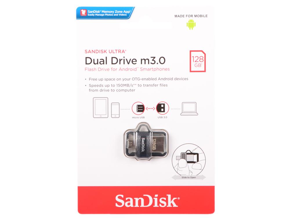 цены на USB флешка SanDisk Ultra Android Dual Drive OTG 128Gb Black (SDDD3-128G-G46) USB 3.0/ microUSB  в интернет-магазинах