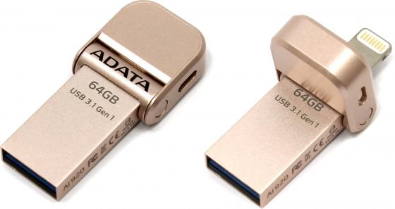 USB флешка A-Data i-Memory AI920 64Gb Gold (AAI920-64G-CRG) USB 3.1 / Lightning / 120 МБ/cек / 30 МБ/cек цена