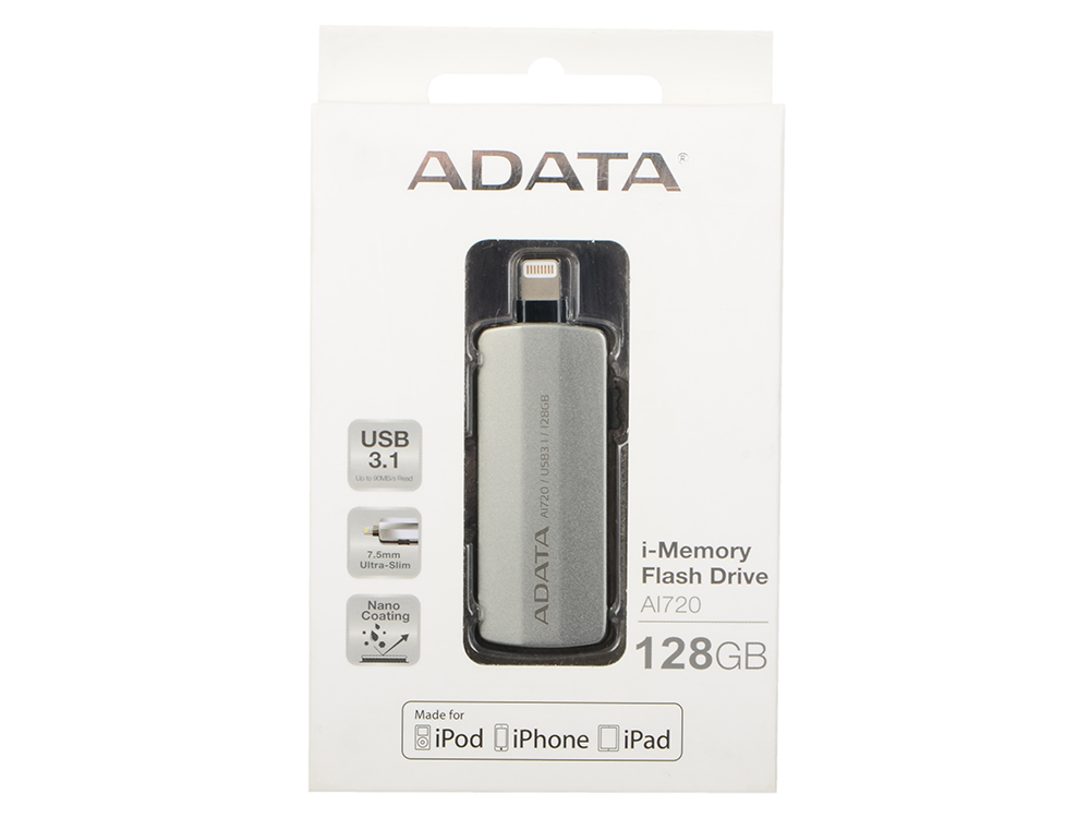 USB флешка A-Data i-Memory AI720 128Gb Grey (AAI720-128G-CGY) USB 3.1 / 90 МБ/cек / 20 МБ/cек флешка usb 128gb a data uv150 usb3 0 auv150 128g rbk черный
