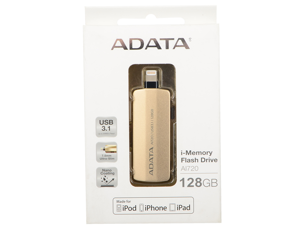 USB флешка A-Data i-Memory AI720 128Gb Gold (AAI720-128G-CGD) USB 3.1 / Lightning / 100 МБ/cек / 50 МБ/cек флешка usb 128gb a data uv150 usb3 0 auv150 128g rbk черный