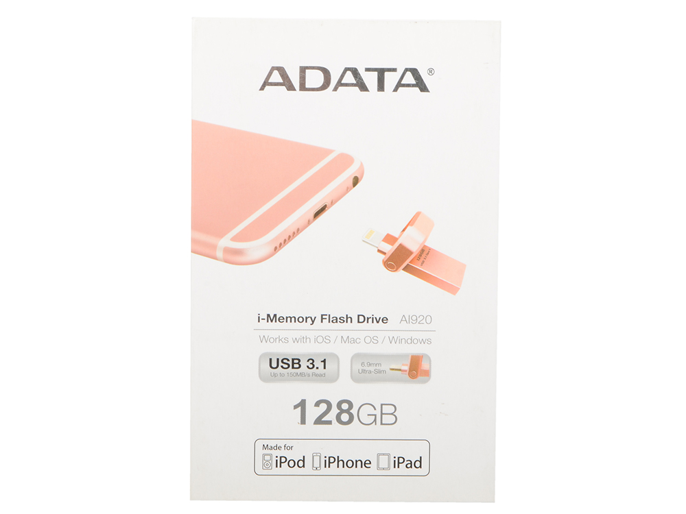 Флешка USB 128Gb A-Data i-Memory AI920 AAI920-128G-CRG розовое золото USB 3.1/Lightning флешка usb 128gb a data uv150 usb3 0 auv150 128g rbk черный