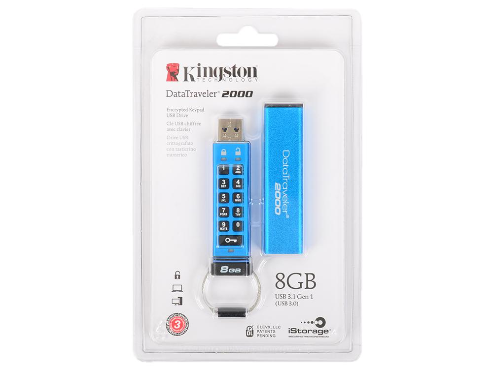 USB флешка Kingston DataTraveler DT2000 8Gb Blue (DT2000/8GB) USB 3.1 / 130 Мб/с / 20 Мб/с usb флешка mirex knight 8gb white 13600 fmukwh08 usb 2 0 18 мб с 8 мб с