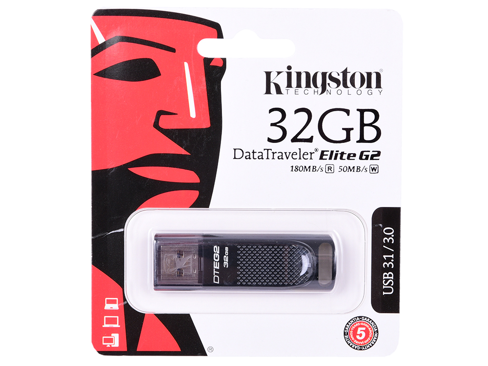 USB флешка Kingston DataTraveler Elite G2 32GB Black (DTEG2/32GB) USB 3.1 / 180 МБ/cек / 50 МБ/cек цена
