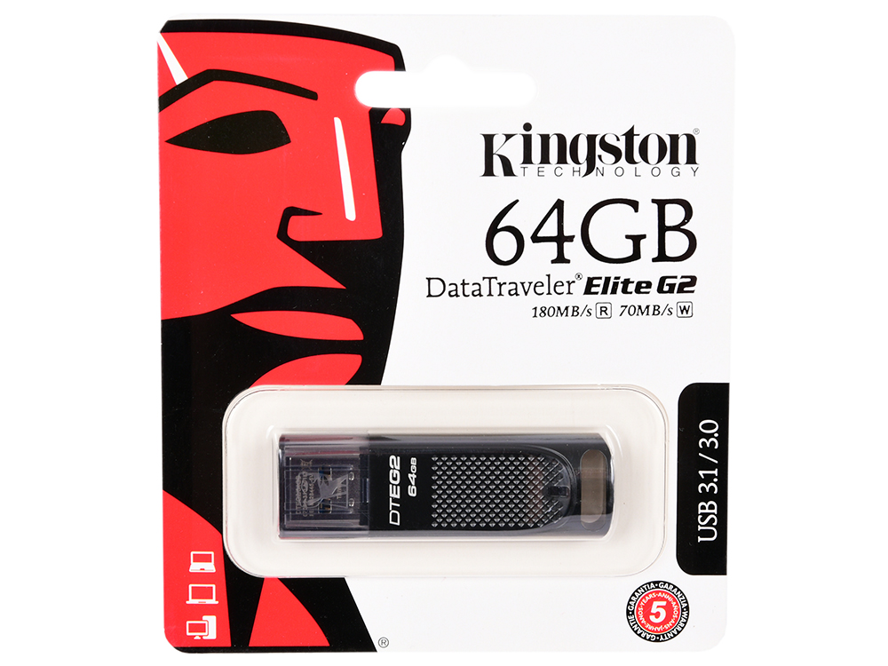 USB флешка Kingston DataTraveler Elite G2 64Gb Black (DTEG2/64GB) USB 3.1 / 180 Мб/с / 70 Мб/с цена