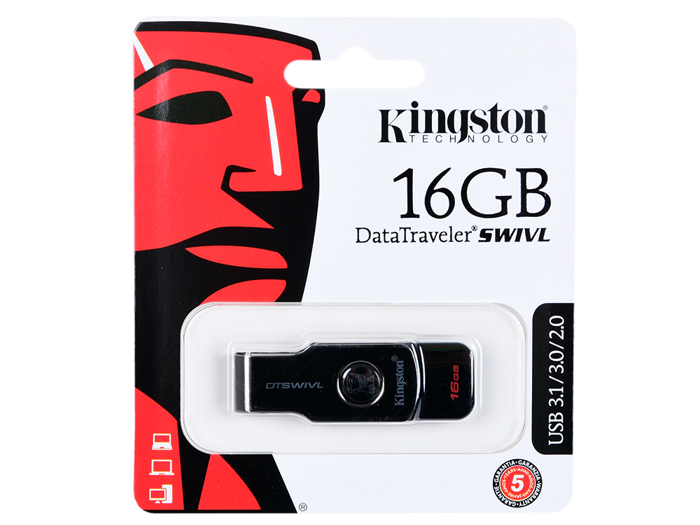 Фото - USB флешка Kingston DataTraveler SWIVL 16Gb Black (DTSWIVL/16GB) USB 3.0 / 110 Мб/с / 15 Мб/с samsung galaxy siii duos gt i9300i 16gb black