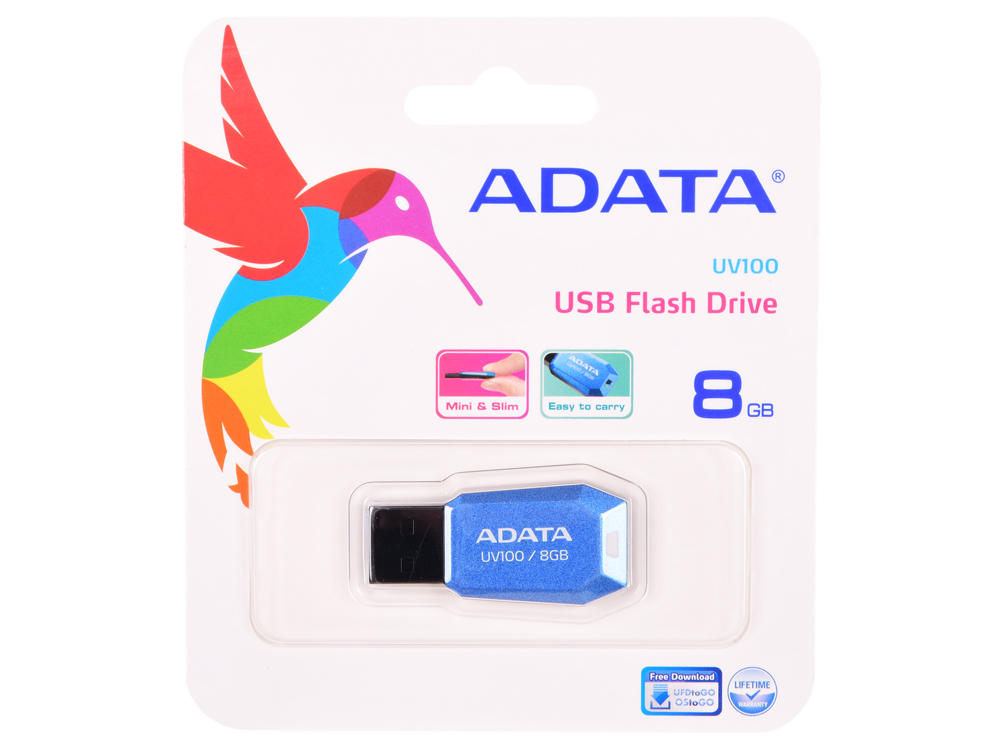 USB флешка ADATA UV100 8Gb (AUV100-8G-RBL) USB 2.0 adata uv100 8gb red флэш накопитель