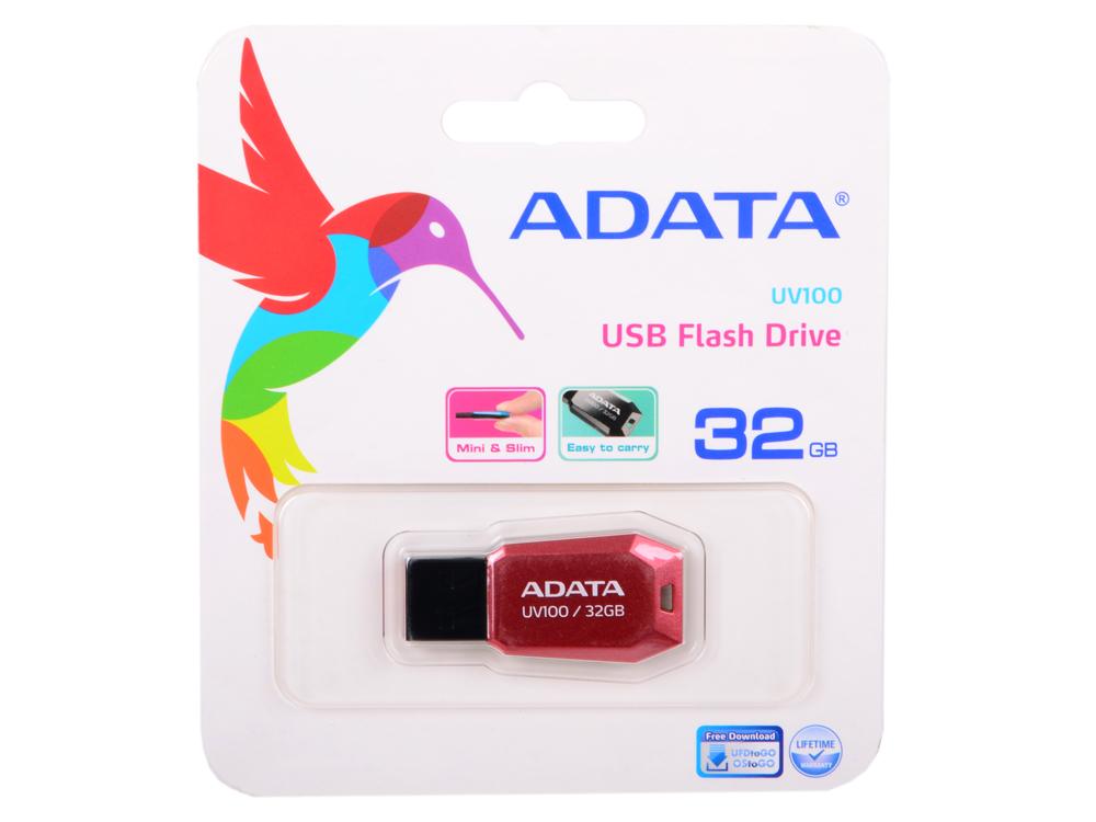USB флешка A-Data UV100 32GB Red (AUV100-32G-RRD) USB 2.0 / 15 МБ/cек / 5 МБ/cек флешка usb 32gb a data uv140 auv140 32g rbe синий