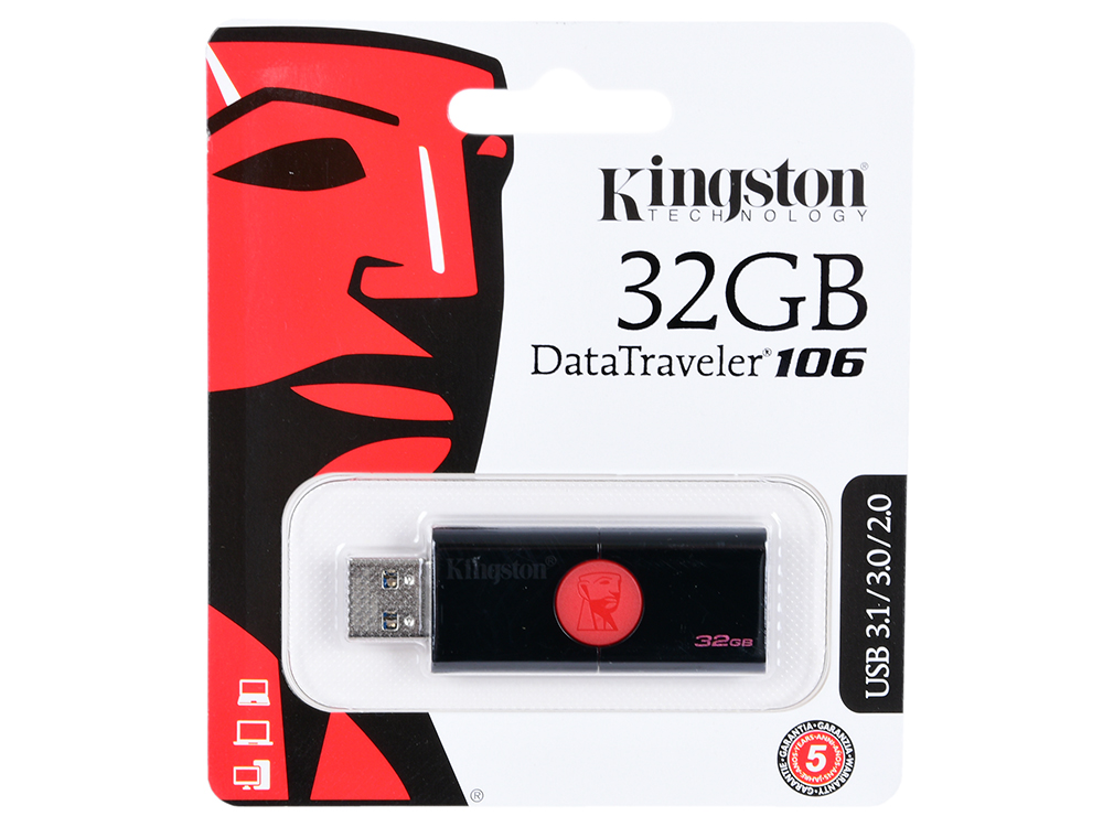 USB флешка Kingston DT106/32GB 32Gb Black/red (DT106/32GB) USB 3.0 / 100 Мб/с / 10 Мб/с kingston black