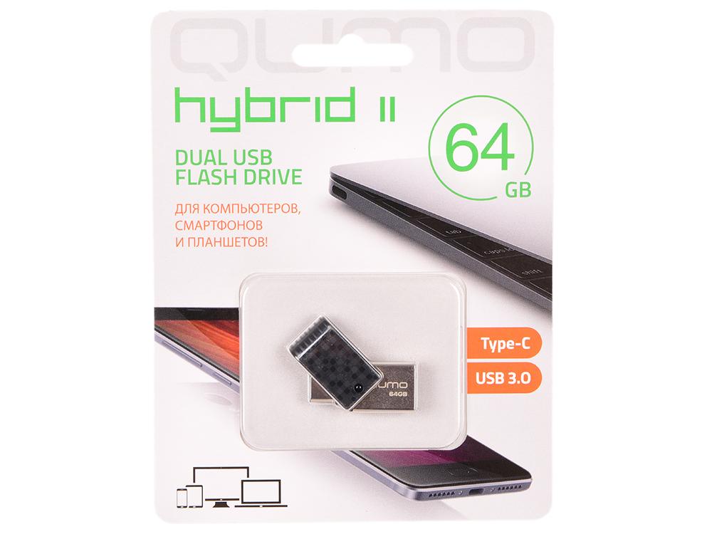 USB флешка Qumo Hybrid 2 64GB Black (QM64GUD3-Hyb2) USB 3.0/ Type-C