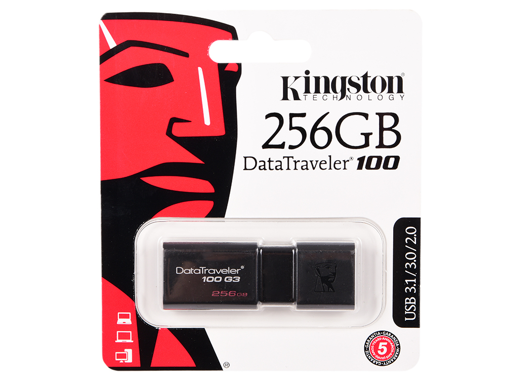 USB флешка Kingston Data Traveler 100 256Gb Black (DT100G3/256GB) USB 3.1 / 130 Мб/с / 10 Мб/с usb флешка mirex knight 8gb white 13600 fmukwh08 usb 2 0 18 мб с 8 мб с