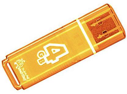 лучшая цена USB флешка Smartbuy Glossy series 4Gb Orange (SB4GBGS-Or) USB 2.0 / 15 МБ/cек / 5 МБ/cек