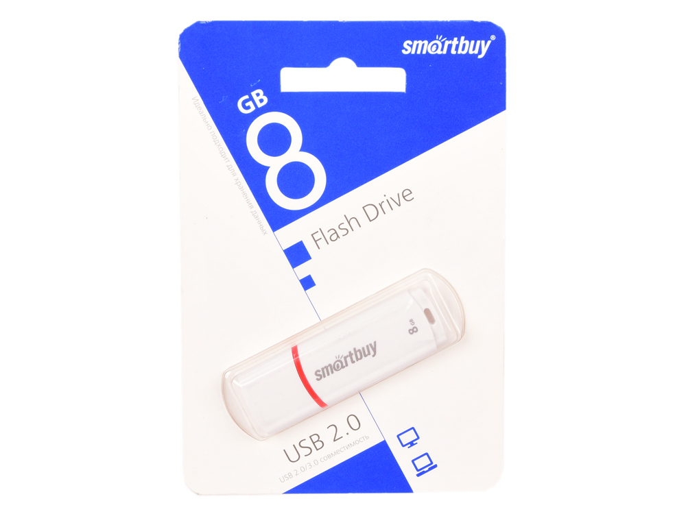 USB флешка Smartbuy Crown 8Gb White (SB8GBCRW-W) USB 2.0 все цены