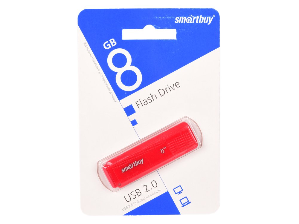 Фото - USB флешка Smartbuy Dock 8Gb Red (SB8GBDK-R) USB 2.0 / 15 МБ/cек / 5 МБ/cек usb флешка smartbuy iron 64gb black red sb64gbir b3 usb 3 0 45 мб cек 12 мб cек