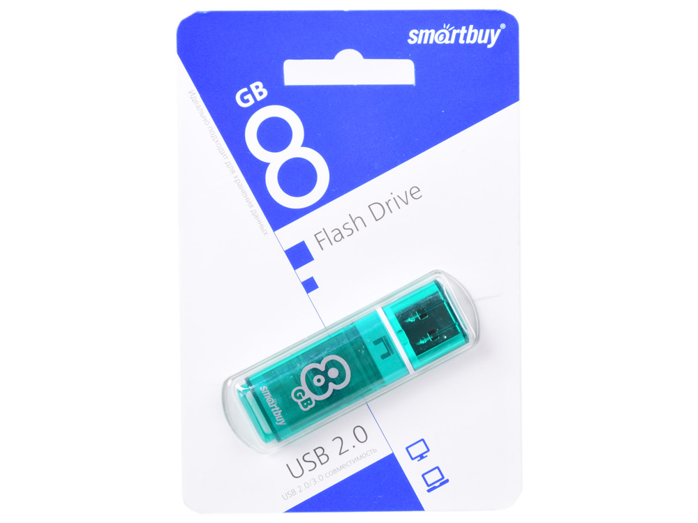 USB флешка Smartbuy Glossy series 8Gb Green (SB8GBGS-G) USB 2.0 / 15 МБ/cек / 5 МБ/cек цена и фото