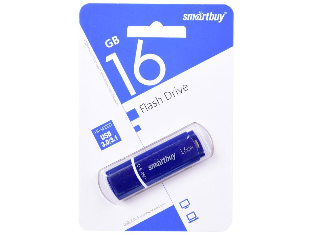 USB флешка Smartbuy Crown 16Gb Blue (SB16GBCRW-Bl) USB 3.0 / 80 МБ/cек / 10 МБ/cек