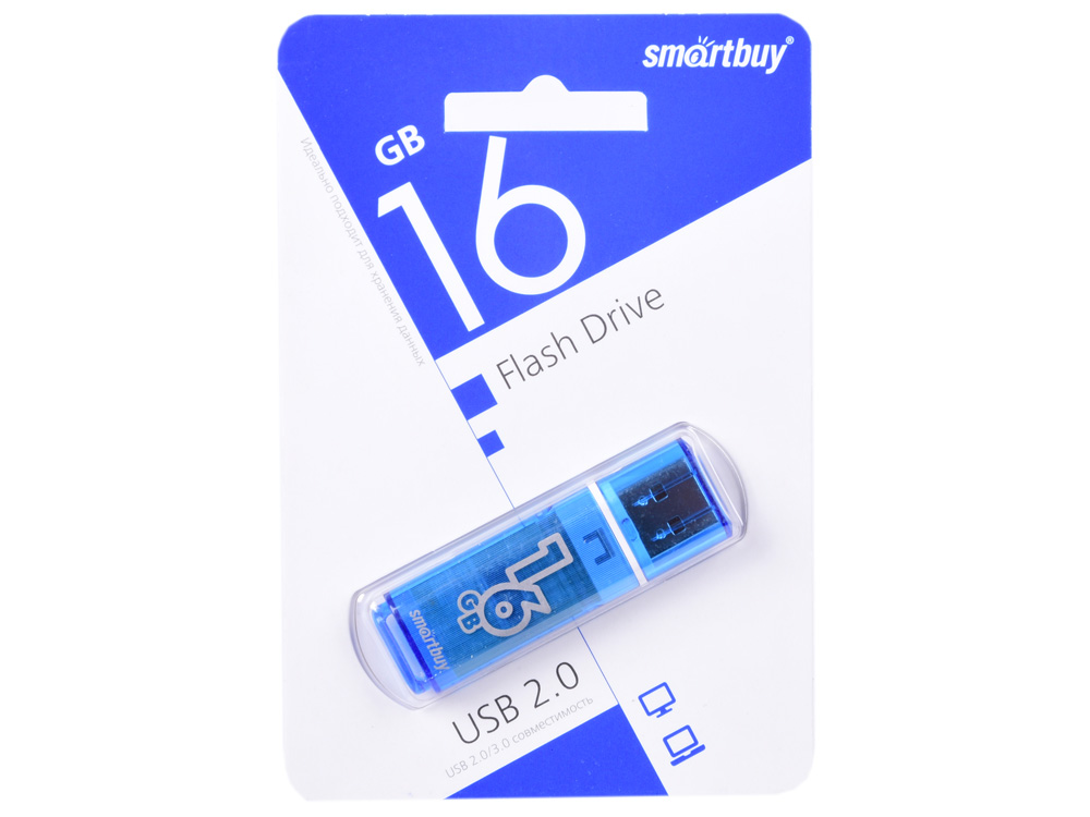 USB флешка Smartbuy Glossy series 16Gb Blue (SB16GBGS-B) USB 2.0 / 15 МБ/cек / 5 МБ/cек smartbuy poko series 16gb black otg usb накопитель