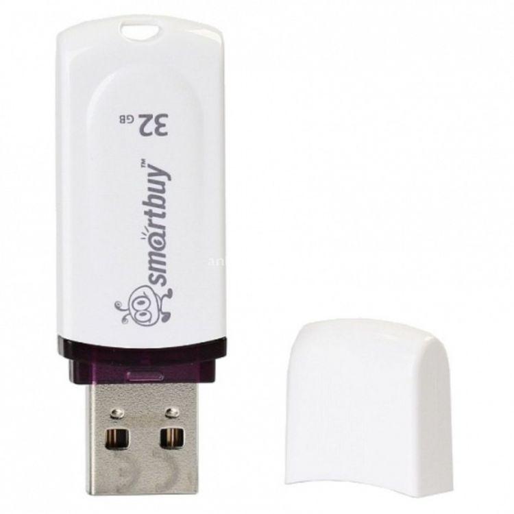 USB флешка Smartbuy Paean 32Gb White (SB32GBPN-W) USB 2.0 / 15 МБ/cек / 5 МБ/cек usb flash drive 16gb smartbuy paean white sb16gbpn w