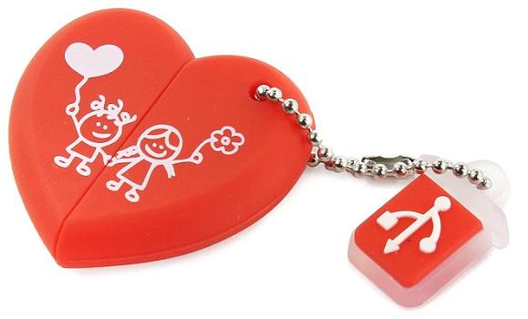 USB флешка Smartbuy Wild series Сердце 16Gb Red (SB16GBHEART) USB 2.0 / 15 Мб/с / 5 Мб/с smartbuy poko series 16gb black otg usb накопитель