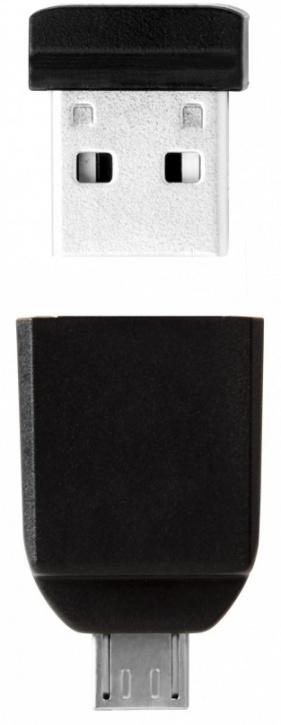 Фото - USB флешка Verbatim Nano OTG 64Gb Black (49329) USB 2.0/microUSB / 10 Мб/с / 3 Мб/с аксессуар hoco ua10 microusb otg silver