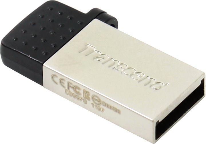 USB флешка Transcend JetFlash 380 64Gb Silver (TS64GJF380S) USB 2.0/microUSB флешка transcend jetflash 350 4gb