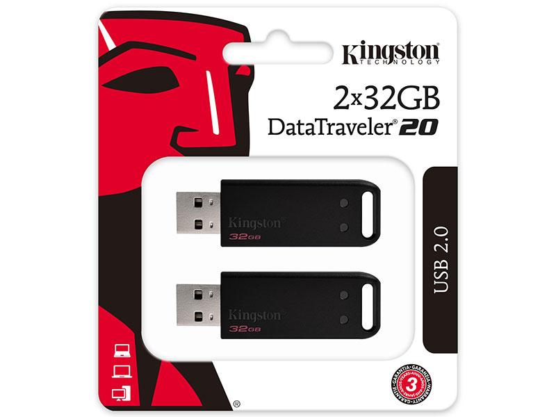 USB флешка Kingston DataTraveler DT20 32Gb Black (DT20/32GB-2P) USB 2.0, 2шт цена и фото