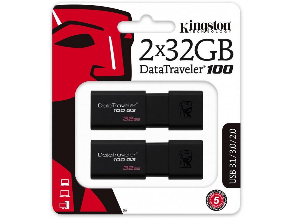 Фото - USB флешка Kingston DataTraveler 100 G3 32Gb Black (DT100G3/32GB-2P) USB 3.0 / 100 Мб/с / 10 Мб/с usb флешка toshiba owari u401 32gb thn u401s0320e4 usb 2 0 20 мб с 11 мб с