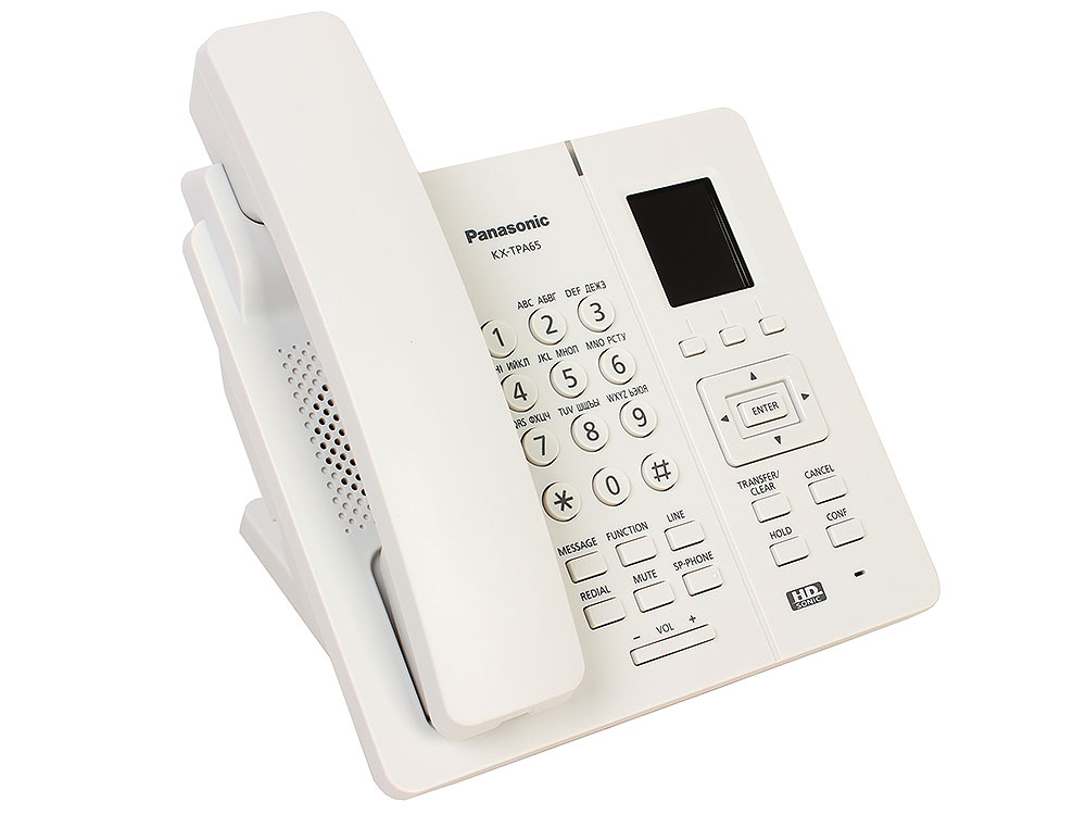Телефон IP DECT Panasonic KX-TPA65RUW SIP Цифр. IP-телефон (Настольный), VoIP, Ethernet, UpTo 7 HSet, Память 500, Звук HD телефон ip dect panasonic kx tpa60rub sip трубка цифр ip телефон