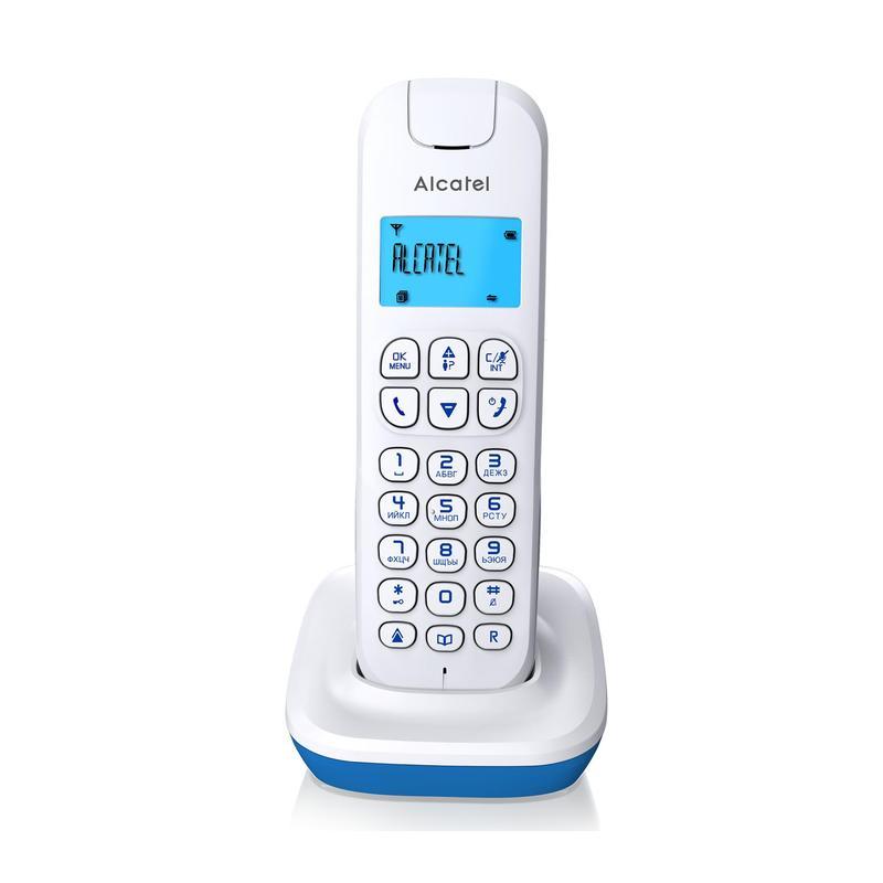 Телефон DECT ALCATEL E132 WHITE-BLUE АОН, Caller ID 10, 10 мелодий, Спикерфон цена
