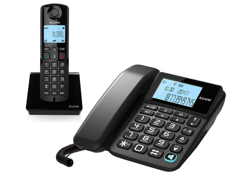 Телефон DECT ALCATEL S250 COMBO RU BLACK 10 мелодий телефон